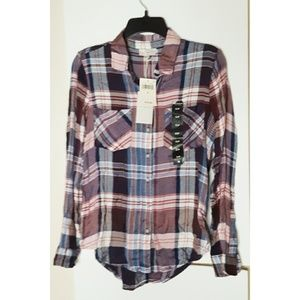 Lucky Brand Plaid Button Up Multi Size S/P NWT